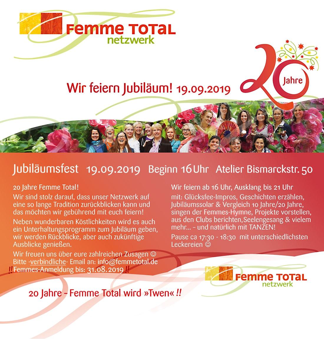 20 Jahre Femme Total Einladung 19.09.2019